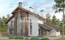 270-003-L Two Story House Plans with mansard roof and garage, spacious Cottages Plans,