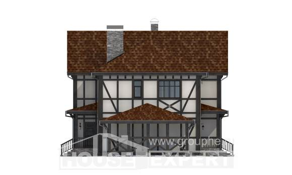 180-004-L Two Story House Plans with mansard with garage in back, a simple Dream Plan,