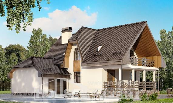 150-001-L Two Story House Plans with mansard with garage, cozy House Blueprints, House Expert