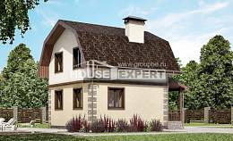 070-004-R Two Story House Plans with mansard, compact Construction Plans,