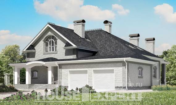 385-001-R Two Story House Plans with mansard with garage under, luxury Villa Plan,
