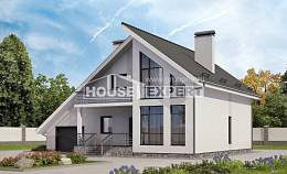 200-007-L Two Story House Plans and mansard with garage under, average Dream Plan,