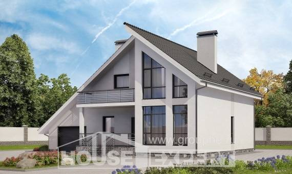 200-007-L Two Story House Plans with mansard roof with garage in back, classic House Online
