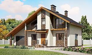 180-008-L Two Story House Plans with mansard roof with garage, best house House Blueprints,