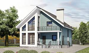 170-006-R Two Story House Plans with mansard roof, compact Woodhouses Plans