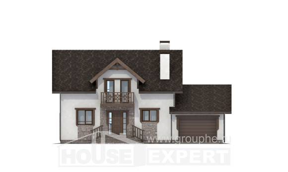 180-013-R Two Story House Plans with mansard roof with garage, compact Blueprints,