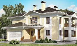 375-002-L Two Story House Plans with garage under, big Floor Plan