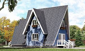 100-002-R Two Story House Plans with mansard, compact Blueprints of House Plans,