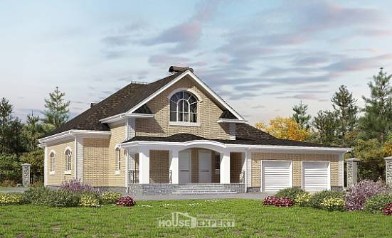 290-001-R Two Story House Plans and mansard with garage under, cozy Home Plans,