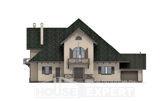 350-001-R Two Story House Plans with mansard with garage, luxury Floor Plan