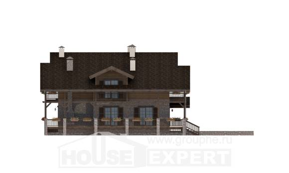 400-004-R Three Story House Plans with mansard roof with garage in front, spacious Home House,