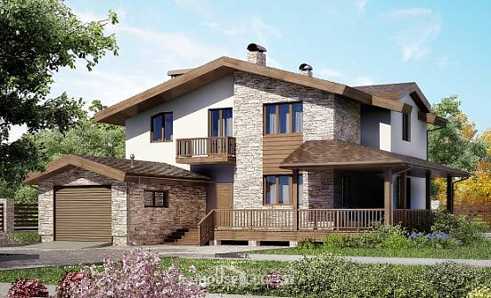 220-001-R Two Story House Plans with mansard and garage, classic Dream Plan,