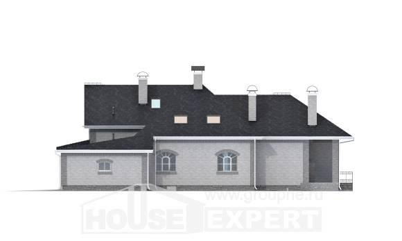 385-001-R Two Story House Plans with mansard with garage, spacious Woodhouses Plans, House Expert