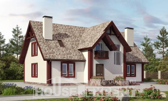 300-008-L Two Story House Plans and mansard with garage under, luxury Architectural Plans