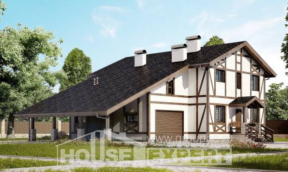 250-002-L Two Story House Plans with mansard roof with garage in back, spacious Planning And Design,