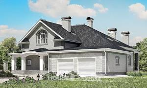 385-001-R Two Story House Plans with mansard with garage, beautiful Woodhouses Plans