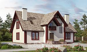 300-008-L Two Story House Plans and mansard and garage, cozy Models Plans