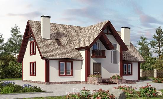 300-008-L Two Story House Plans with mansard and garage, cozy Tiny House Plans,