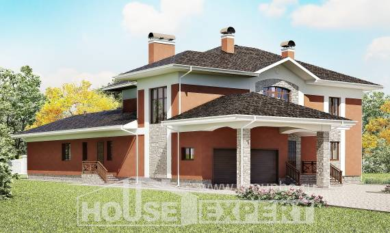 400-002-L Two Story House Plans with garage, a huge House Online