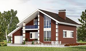 180-001-L Two Story House Plans and mansard with garage in front, classic Timber Frame Houses Plans