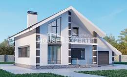 190-008-R Two Story House Plans with mansard roof with garage in back, modern House Plans, House Expert