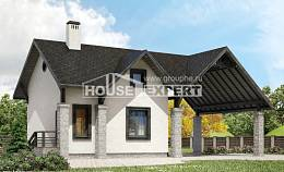 060-001-R Two Story House Plans with mansard and garage, economy House Planes, House Expert