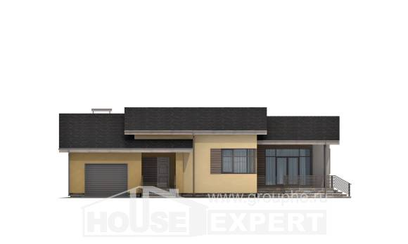 135-002-L One Story House Plans with garage, a simple Home Blueprints