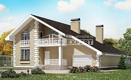 190-005-R Two Story House Plans with mansard roof with garage, classic Dream Plan,