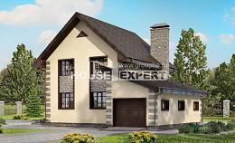 160-004-R Two Story House Plans with mansard roof and garage, the budget Villa Plan,