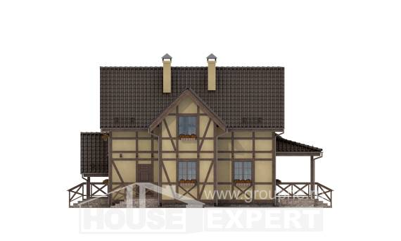 160-003-R Two Story House Plans and mansard, small Villa Plan,
