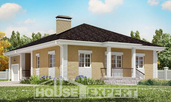 130-002-L One Story House Plans with garage under, a simple Building Plan,