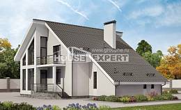 200-007-L Two Story House Plans with mansard with garage in front, modern Floor Plan