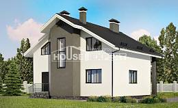 150-005-L Two Story House Plans with mansard, modest Home Blueprints