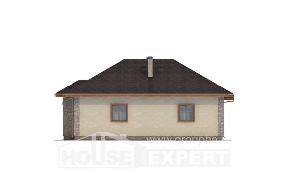 130-006-L One Story House Plans with garage under, modest House Plans,
