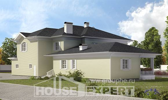 410-002-L Two Story House Plans with garage under, classic House Planes,