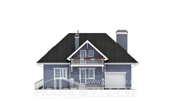 200-001-R Two Story House Plans with mansard with garage under, spacious Floor Plan, House Expert