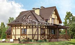 160-003-R Two Story House Plans with mansard roof, the budget Timber Frame Houses Plans,