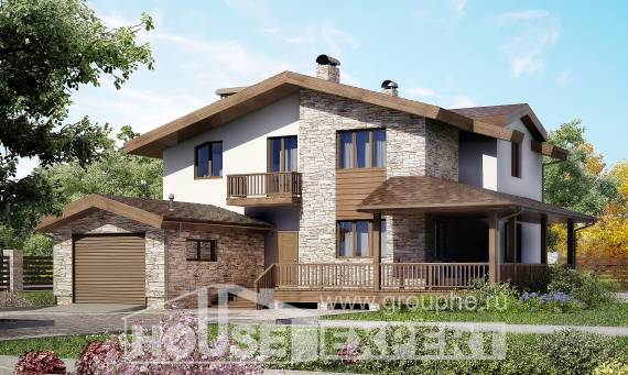 220-001-R Two Story House Plans and mansard and garage, cozy Custom Home,