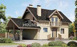 150-011-L Two Story House Plans with mansard roof with garage, cozy House Planes,