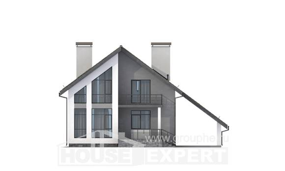 170-009-L Two Story House Plans with mansard with garage in front, compact Custom Home, House Expert