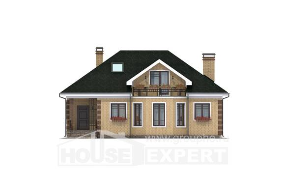 150-013-L Two Story House Plans with mansard roof, the budget Home Plans,