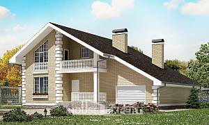 190-005-R Two Story House Plans with mansard with garage in front, modern Blueprints of House Plans