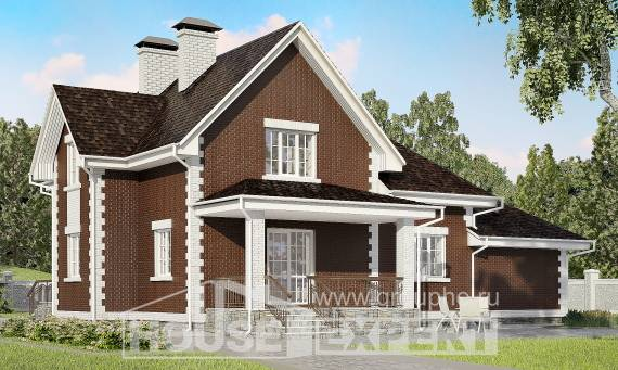 190-003-L Two Story House Plans with mansard and garage, spacious Home Blueprints,