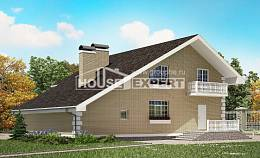 190-005-R Two Story House Plans with mansard roof with garage, average Villa Plan,