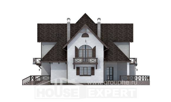 350-001-L Two Story House Plans and mansard with garage, luxury Cottages Plans,