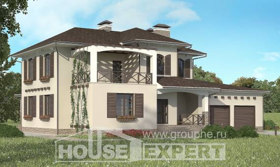 285-002-R Two Story House Plans with garage in front, classic Home Blueprints,