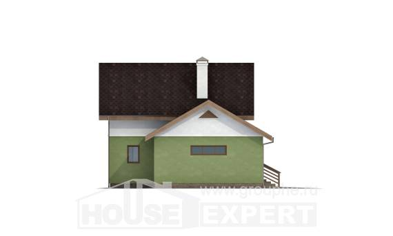 120-002-R Two Story House Plans and mansard with garage in back, a simple Villa Plan,