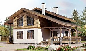 210-006-R Two Story House Plans with mansard roof, a simple Home House,