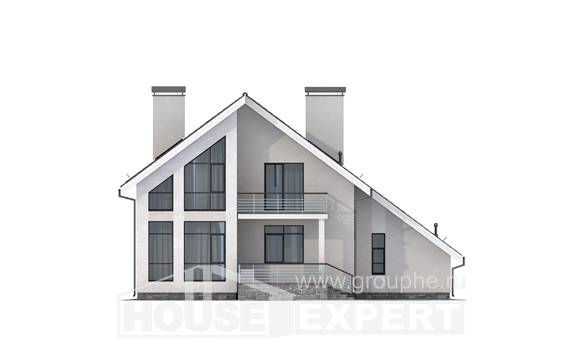 200-007-L Two Story House Plans with mansard roof with garage in back, spacious Design Blueprints