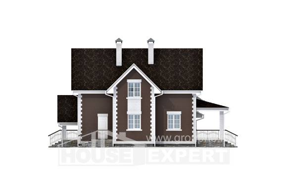 190-003-L Two Story House Plans with mansard roof with garage, spacious House Blueprints,